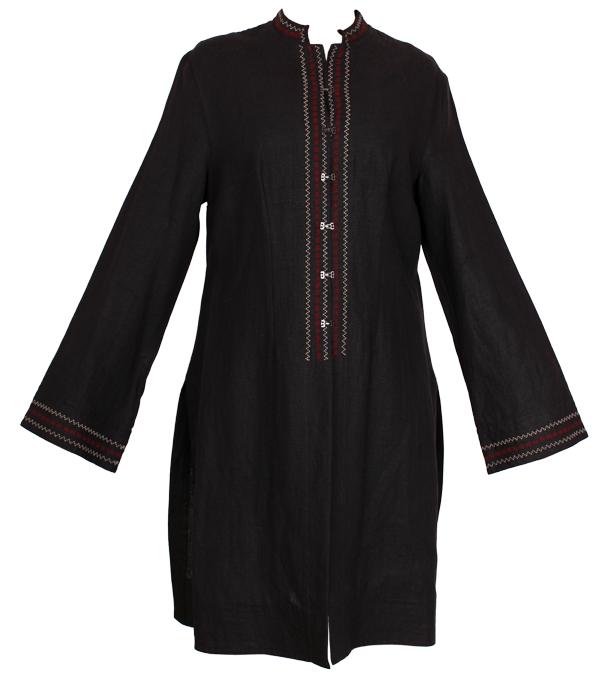 Płaszcz czarny na stójce z kolorowym haftem.-706