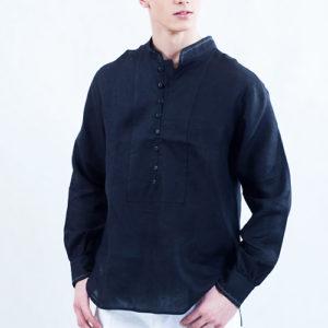 Koszula czarna ,zapinana na pętelki, mankiet marszczony.-766