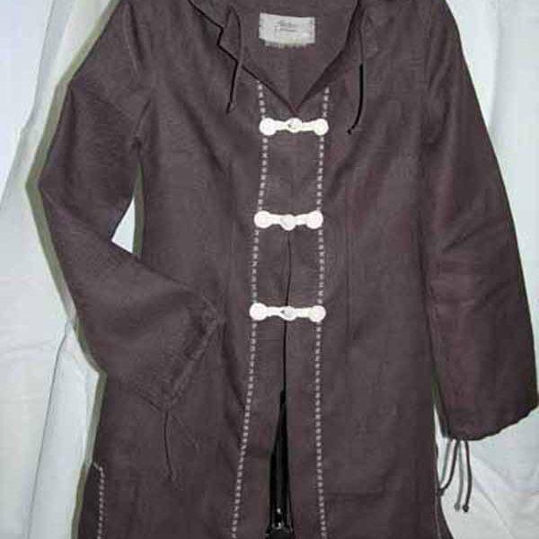 Płaszcz brazowy z kapturem , gruby.-694