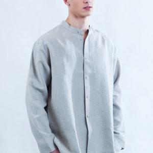 Koszula w kolorze naturalnego lnu, rozpinana ze stójką.-0