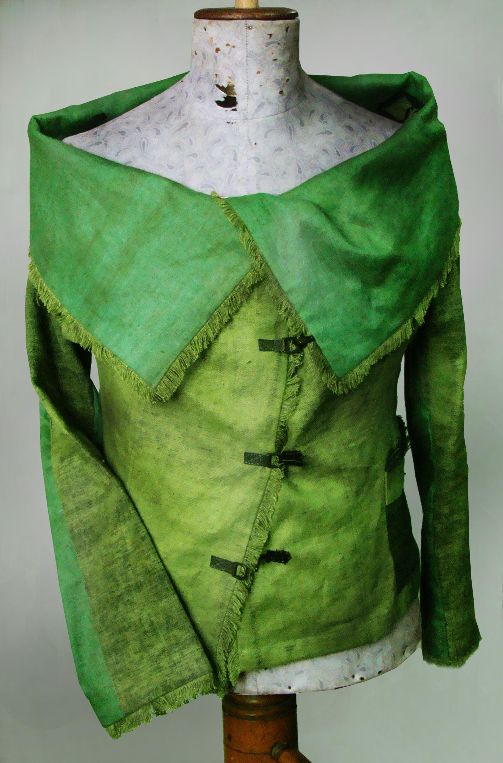 Żakiet zielony , wiosenny z dużym kołnierzem.-0