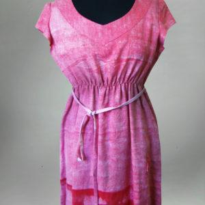 Sukienka z krótkim rękawem biało-czerwona.-0