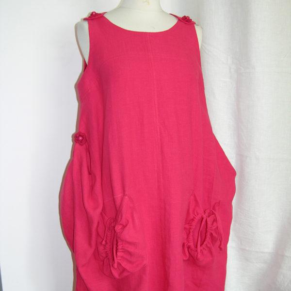Sukienka czerwona,podczepiana po bokach.-0