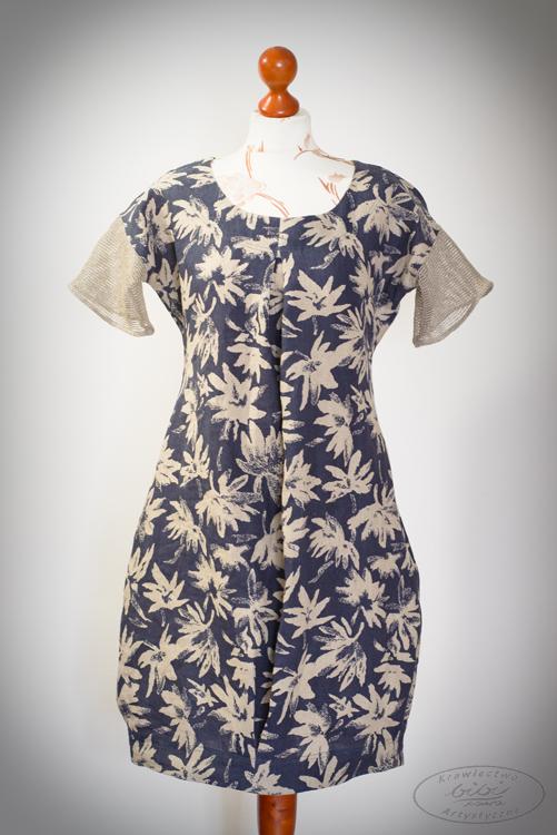 Sukienka granatowa z rękawkiem z dzianiny lnianej w kwiaty naturalnego koloru.-0