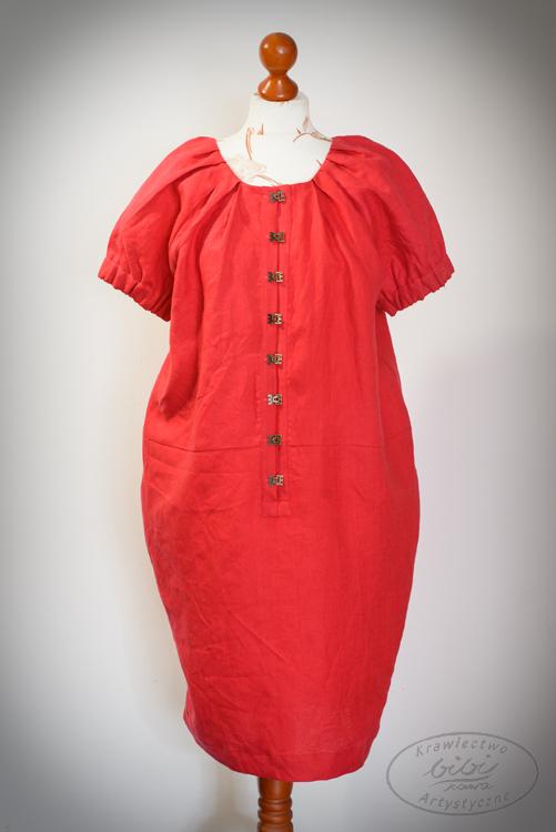 Sukienka czerwona , zapinana na haftki, rękaw gumki-0