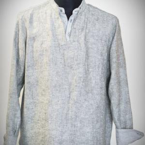 Koszula szara, podwójna stójka, w środku paseczki.-0