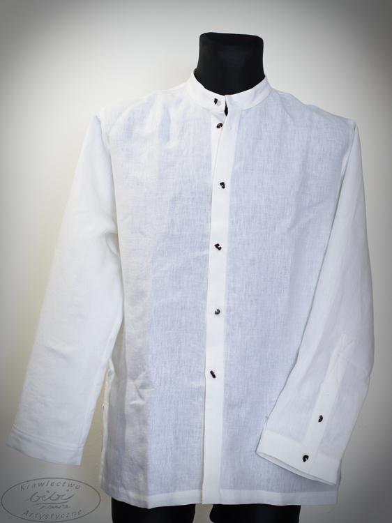 Koszula biała na stójce z czarnymi bursztynami.-0