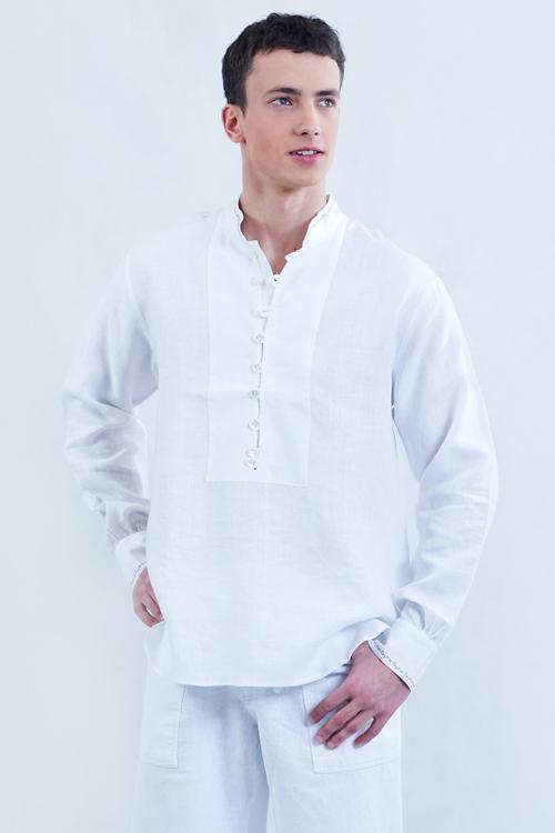 Koszula biała, zapinana na pętelki, na stójce.-767