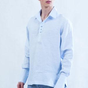 Koszula błękitna z kołnierzem, pęknięcie z przodu, dopasowany długi mankiet.-0
