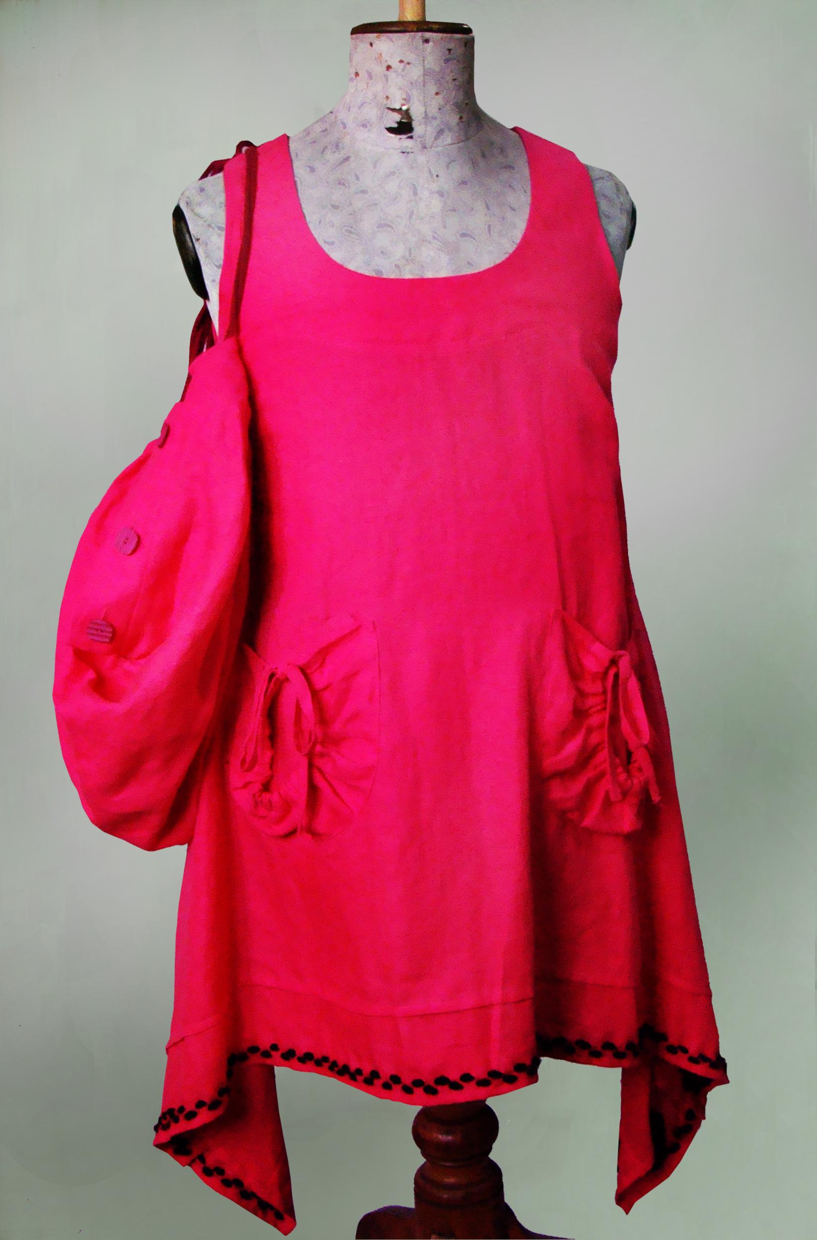 Sukienka Różowa z kieszeniami.-0
