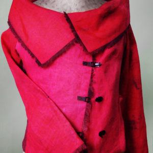 Żakiet czerwony z odrobiną różu z dużym kołnierzem.-0