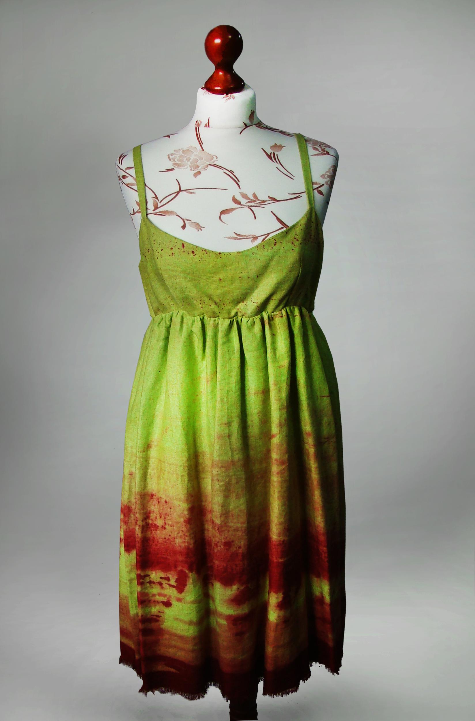 Sukienka żółto-seledynowa z czerwonym.-0