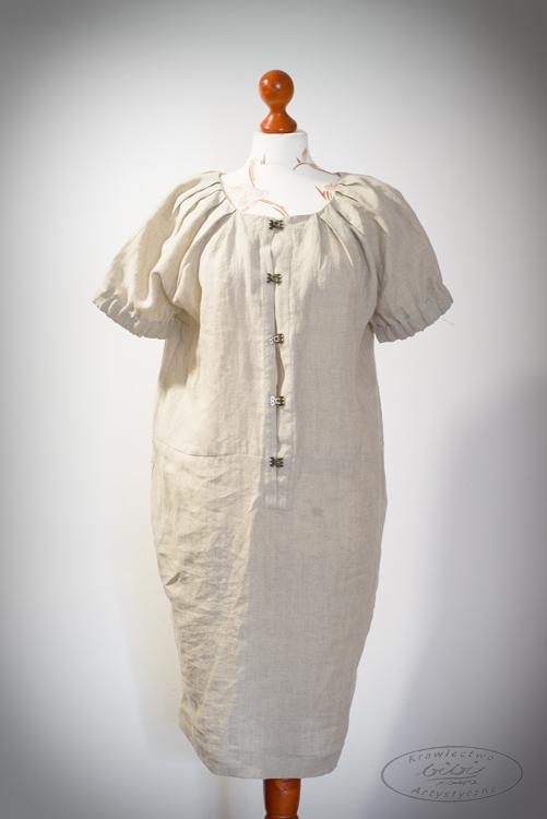 Sukienka naturalna zapinana na haftki, rękawy na gumkach-0