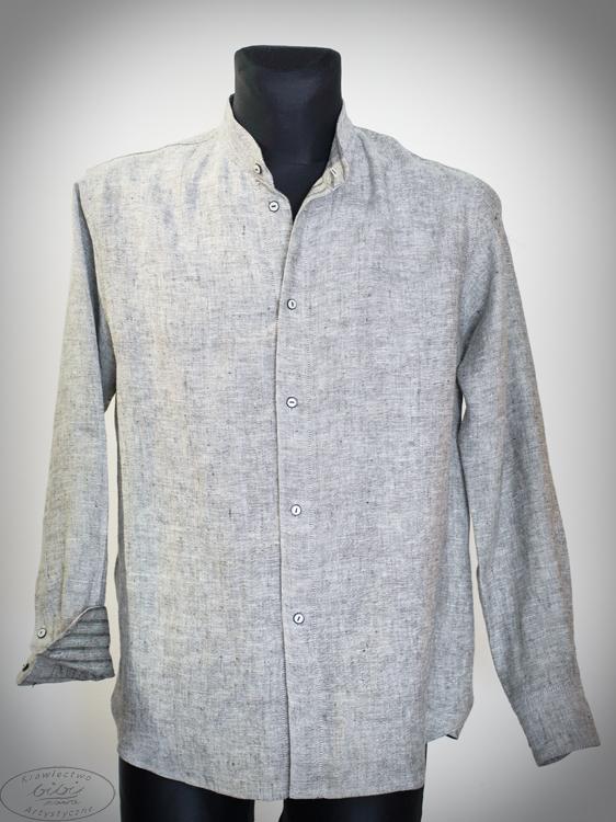 Koszula szara, rozpinana, w środku pasezki , na stójce-0